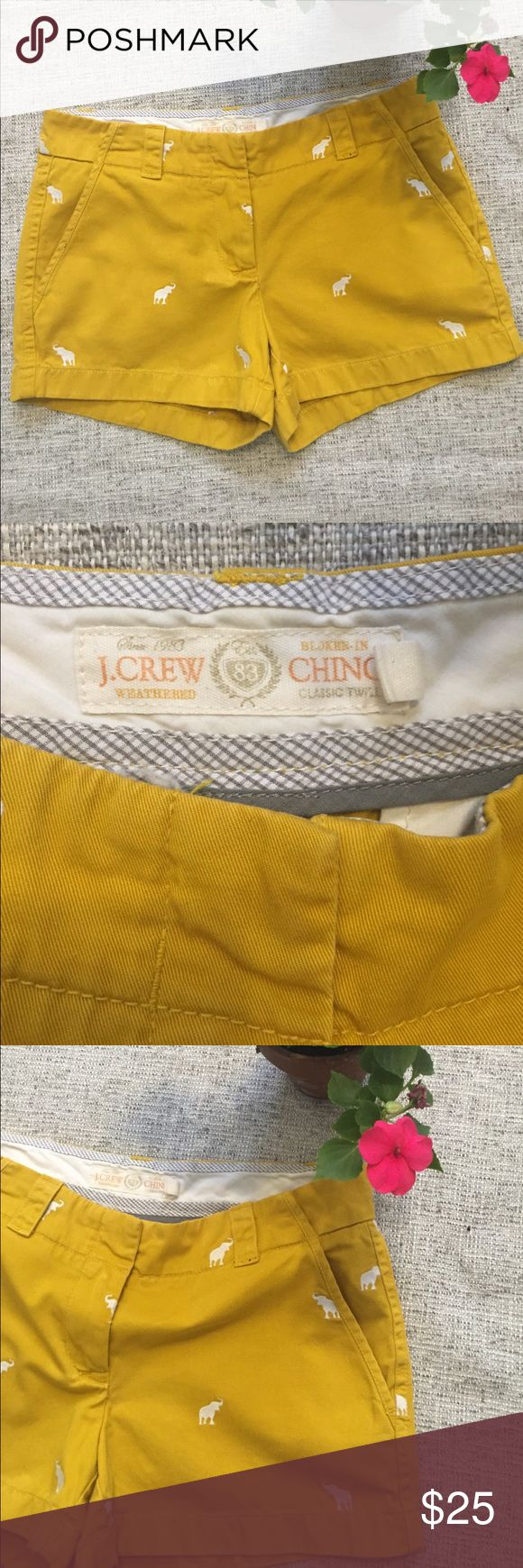 J. Crew chino shorts with Elephants My favorite shorts(that no longer fit me😳) purchased in SoHo on a mega J Crew shopping trip. I've only worn these a few times the are in very good condition. Broken-in Chino weathered, classic twill in a goldenrod color with embroidered elephants J. Crew Shorts