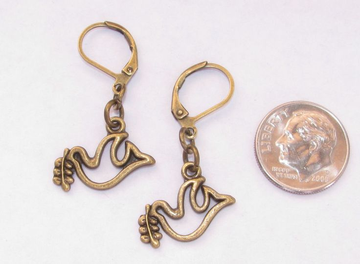 DOVE with Olive Branch Charm LEVER BACK Earrings Bronze Tone OPTIONS: Short Long #BusyBeeBumbleBeads #DropDangle