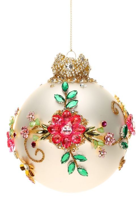 Mark Roberts Christmas Ornaments | King's Jewel Collection | Jeweled Ornaments | Floral Ornament | 36-43992