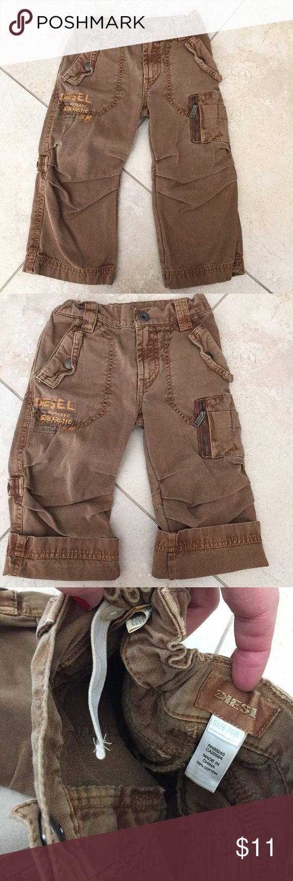 Diesel pants 24 mo /2T(rolled )would fit up to 3T Diesel pants 24 months(rolled )but i know would fit up to 3T plus ) if u would like measurements please let me know. Super cute rolled and also long!  Super stylish and adjustable waist a huge ++ purchased at Nordstroms!  Bundle to save!! Diesel Bottoms Casual