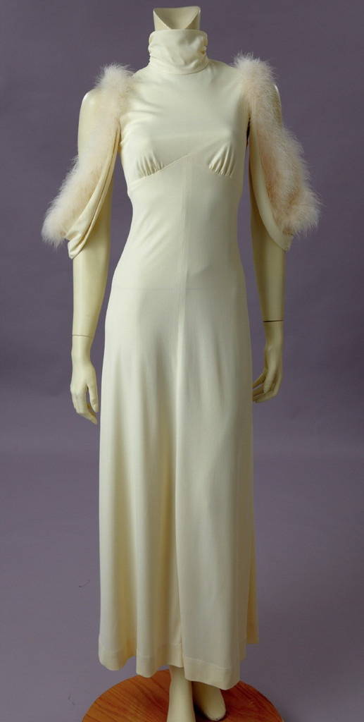 White Jersey W/Marabou Trimmed Sleeves, 1960's