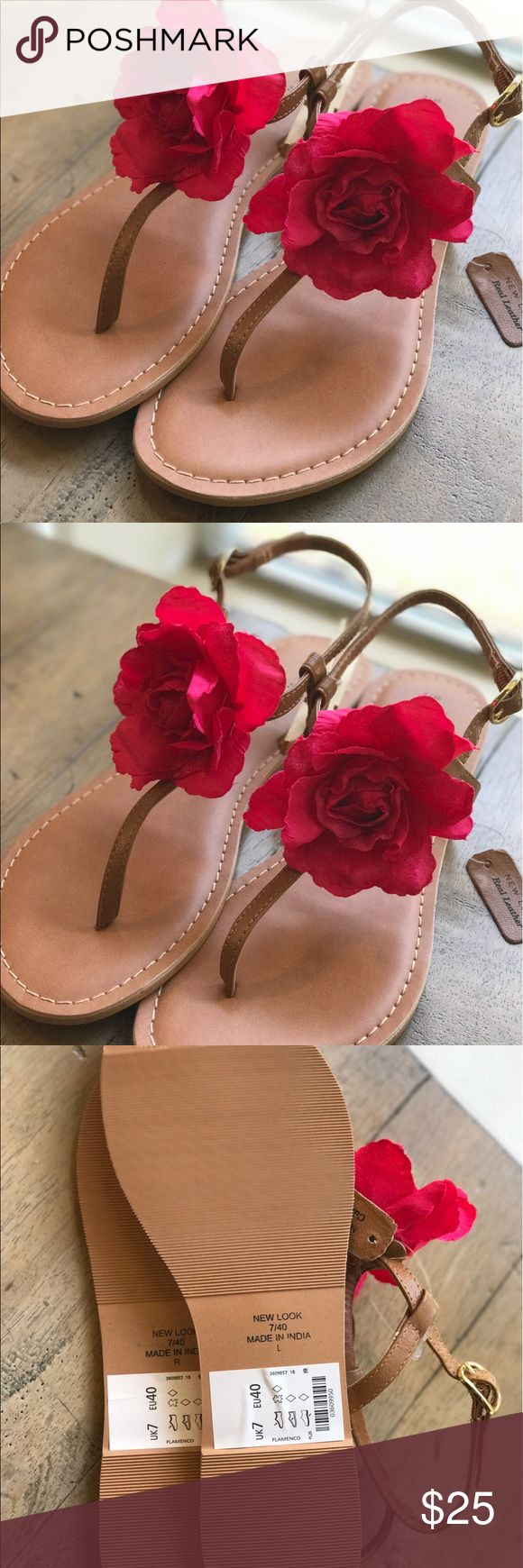 NWT Tan Leather Sandal Pink Flower Sandal Size 7 NWT Tan Leather Sandal Pink Flower Sandal Size 7 // New With Tags // Side Buckle to Fasten Close // Brand: New Look New Look Shoes Sandals