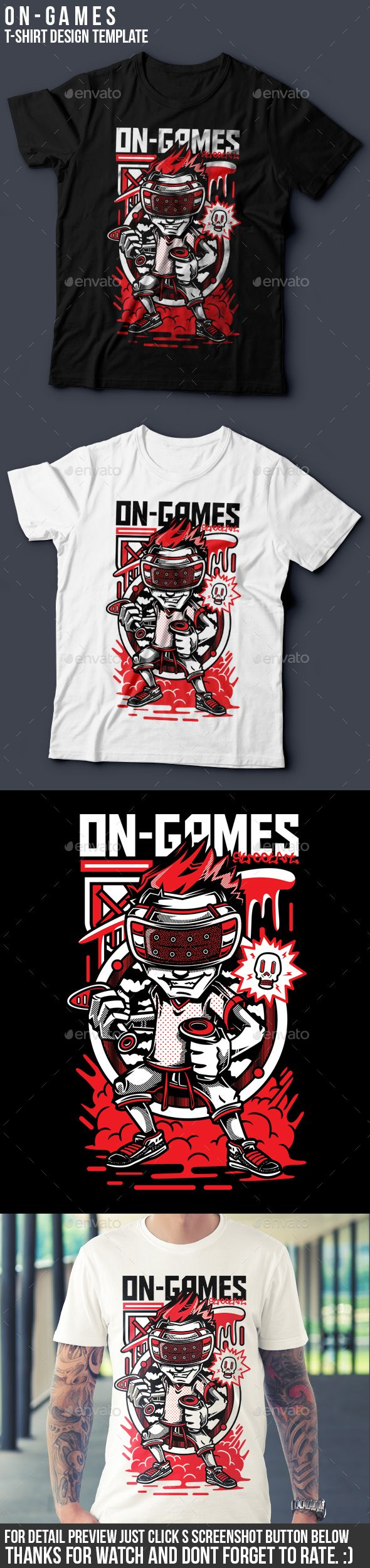 White t shirt eps - On Games T Shirt Design
