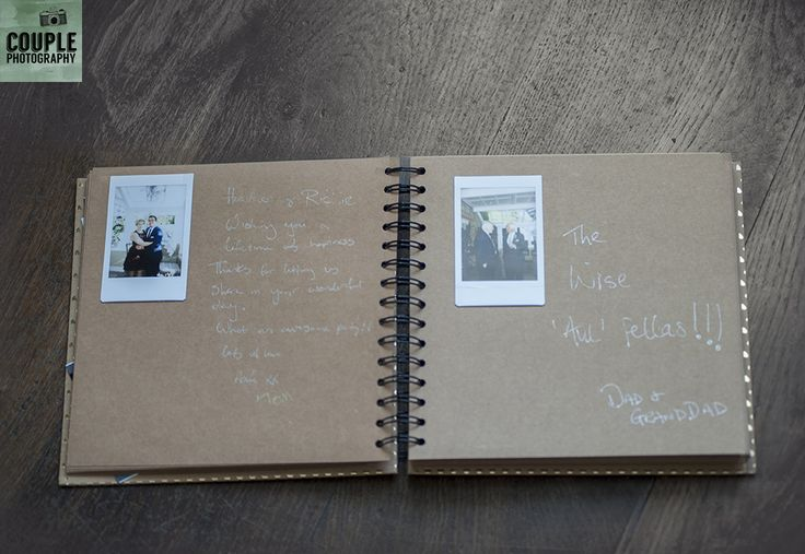 guest book with polaroids. Weddings at Ballymagarvey Village photographed by Couple Photography.
