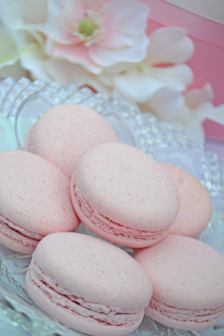 Strawberry macarons for a baby girl's baptism. Dessert table by Sweet Design Company.