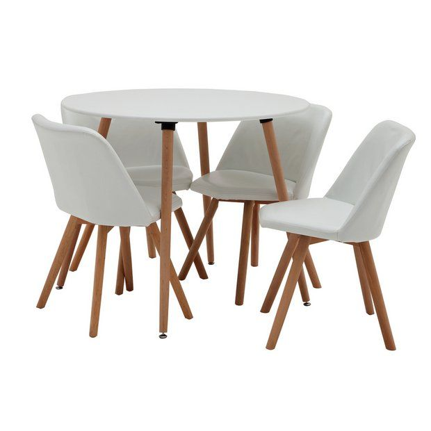 Buy Argos Home Quattro White Dining Table 4 White Chairs