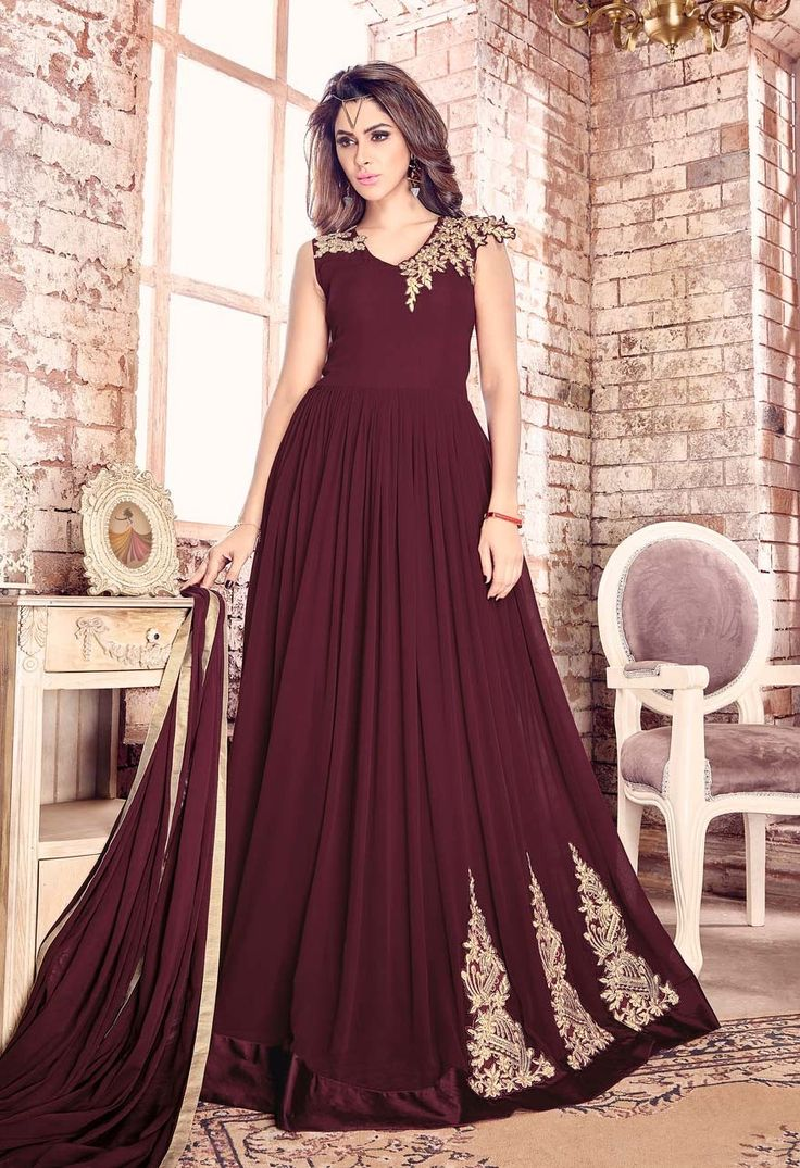 Maroon floor touch Indian designer anarkali suit in georgette D17011