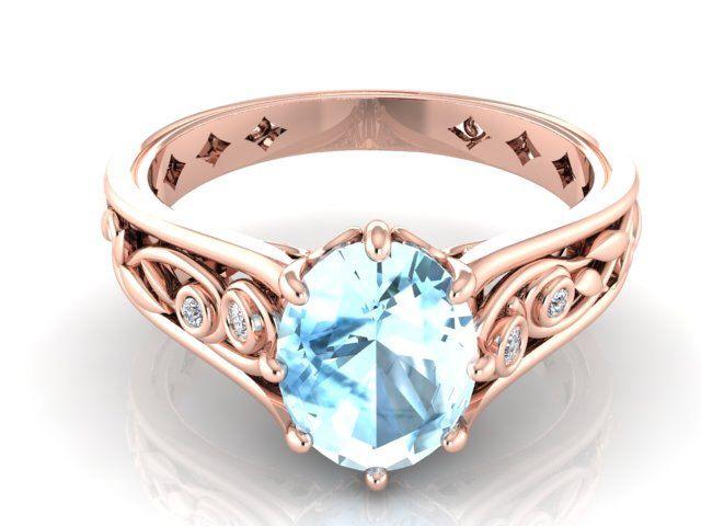 Engagement and Wedding ring, Natural Aquamarine Rose gold Engagement ring, Diamond wedding ring, vine and leaf ring, Aquamarine wedding ring by BridalRings on Etsy https://www.etsy.com/listing/254813804/engagement-and-wedding-ring-natural