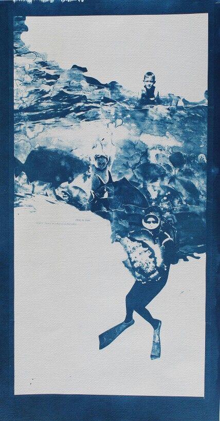 """""""Show no Fear (DIVER)"""", 2015-cyanotype (chloe obermeyer) #cyanotype"""
