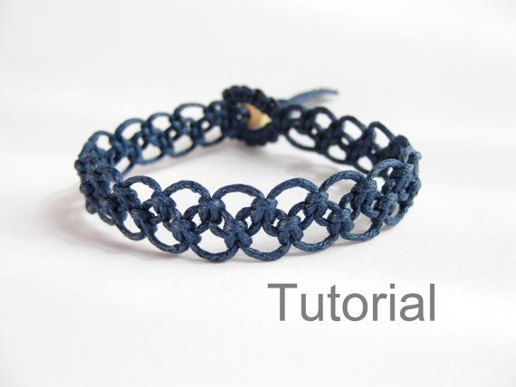 macrame bracelet pattern tutorial pdf tuto jewelry instructions knot diy handmade tutoriel knot easy step by step Christmas how to micro makrame knotonlyknots navy blue Xmas knotted instant download beginner jewellery  PLEASE NOTE this pattern is similar to another macrame bracelet pattern I have listed - but the two patterns have different clasps. The similar pattern is : https://www.etsy.com/listing/126668627/instant-download-pattern-rose-pink   INSTANT DOWNLOAD MACRAME BRACELET PATTERN…