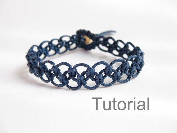Azul de Marina de guerra fácil tutorial macrame por Knotonlyknots