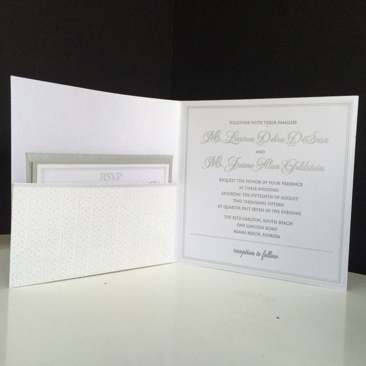 wedding invitations from michaels crafts%0A crystal shimmer card stock with charcoal ink a square pocket fold  Lauren  and Jaime