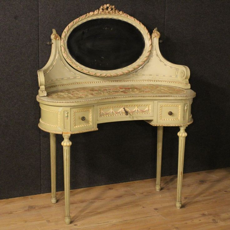 1400€ Italian lacquered and painted dressing table in Louis XVI style. Visit our website www.parino.it #antiques #antiquariato #furniture #lacquer #lacquered #antiquities #antiquario #mirror #dressingtable #table #toilette #golden #gold #decorative #interiordesign #homedecoration #antiqueshop #antiquestore