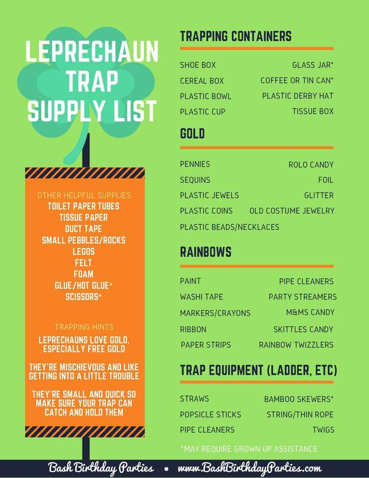 Leprechaun Trap Supply List from Bash Birthday Parties