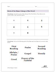 Liturgy of the Word Parts Worksheet | Sacraments Activities ...