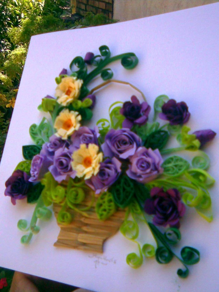 how to make quilling flower basket