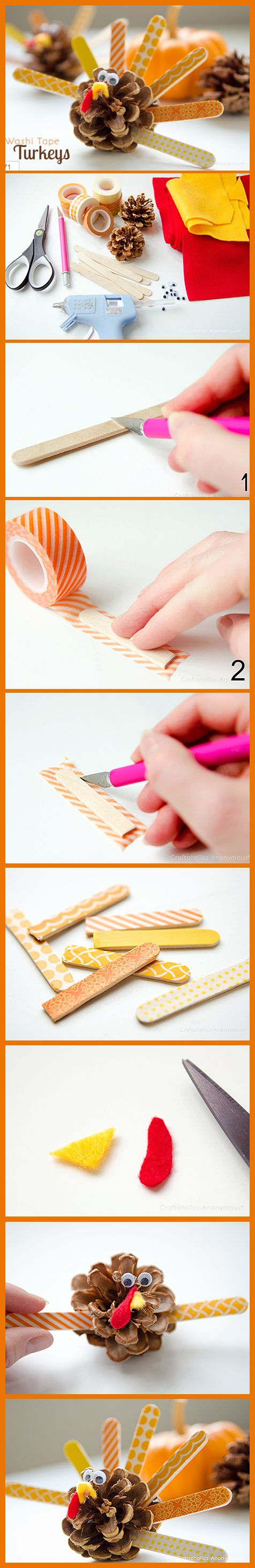 Washi Tape Pinecone Turkeys Tutorial: #kids #thanksgiving #turkey #tutorial #craft #reuse #recycle #diy #holiday #pinecone http://www.craftaholicsanonymous.net/washi-tape-pinecone-turkeys