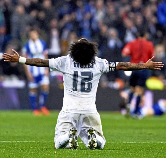 Marcelo reacts during Real Madrid's La Liga game against Deportivo | January 9, 2016
