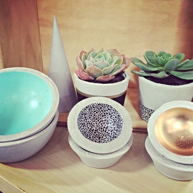 CONCRETE | HOMEWARES   Planters, large bowl & mini bowls