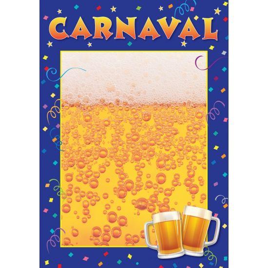 Aankondiging / Uitnodiging deur of raam poster Carnaval, A2 formaat(42 x 59 cm). Op deze sjabloon poster kunt u zelf opschrijven waar, hoe laat, wanneer etc. uw Carnaval feest gaat plaatsvinden.