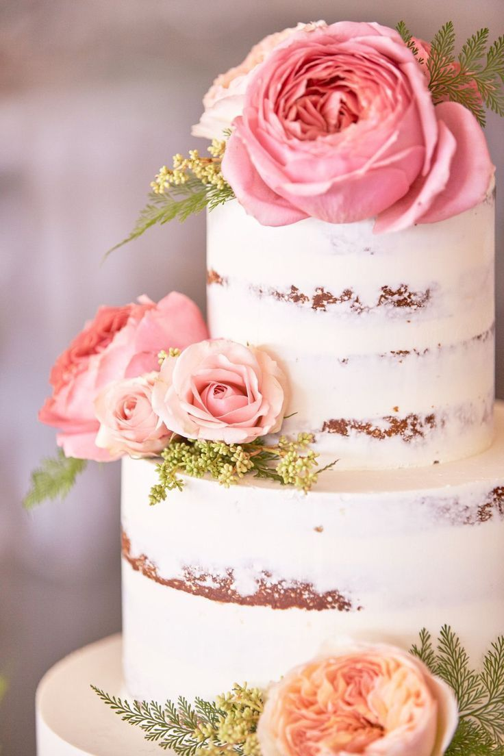 pink champagne naked cake -Beautiful garden wedding cake with fresh ...
