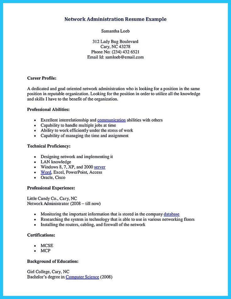 cisco ccna resume samples