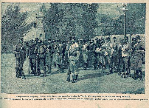 El regimiento de Pisagua en la Plaza de Viña del Mar despues de las batallas de Colmo y Placilla   por santiagonostalgico