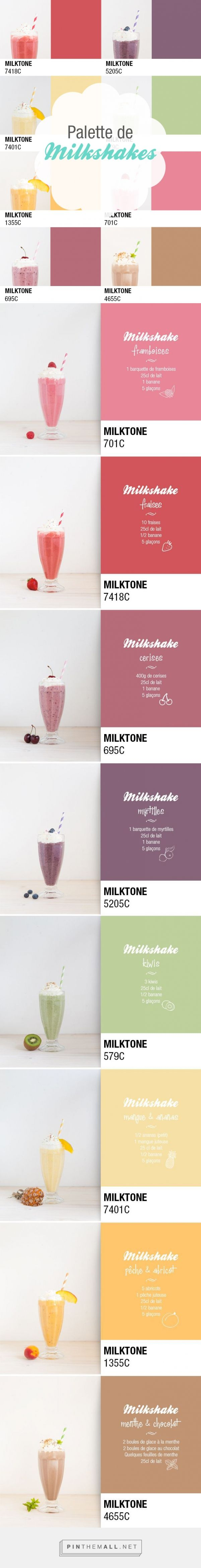 One milkshake a day via Pop and Soda. Ma palette de vitamines curated by Packaging Diva PD. This really isn't packaging but I couldn't resist these smoothies in Pantone colors including the recipe too.