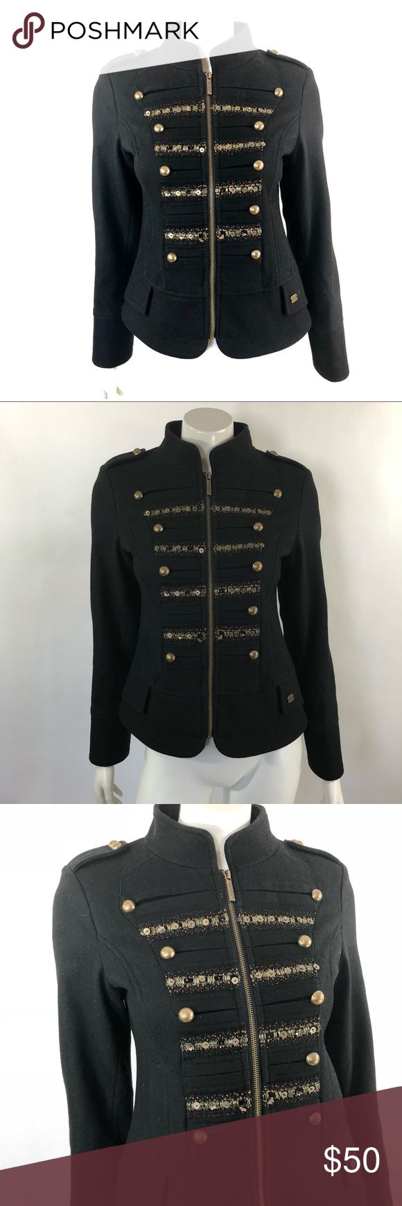 Steve Madden Military Style Jacket Sz Medium Black Steve Madden Womens Military Style Jacket Size Medium Black Wool Blend Coat. Measurements: (in inches) Underarm to underarm: 18 Length: 22 Sleeve:24 Good, gently used condition Steve Madden Jackets & Coats