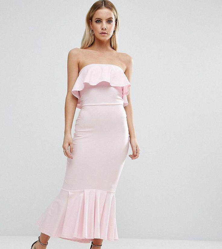 ASOS PETITE Bandeau Pephem Ruffle Top Midi Dress - Pink
