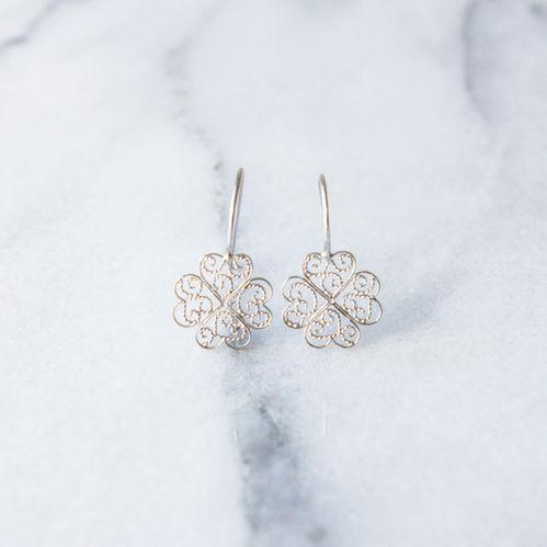 "Filirose ""Rosa Silver Earrings"" - Minimalistic, elegant fine jewelry with Portuguese filigree"