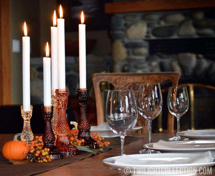 Harvest table featuring vintage inspired Bella candle holders. Thanksgiving tablescape.