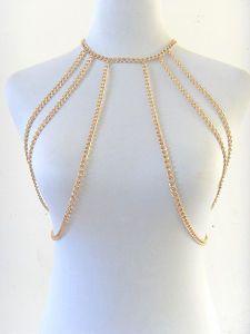 Gold Choker Necklace Body Chain Jewelry Bib Neck