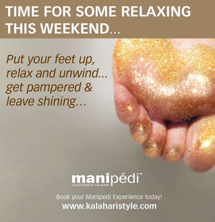 Time for some relaxing this weekend... Put your feet up, relax and unwind... get pampered and leave shining… Book your MANIPEDI treatment at your Kalahari Salon, invite a friend to share the love, sparkle and shine with you! Visit our website to find a salon near you www.kalaharistyle.com @KalahariStyle ‪#‎KalahariLifestyle‬ ‪#‎Weekend‬ ‪#‎Pamper‬ ‪#‎Manipedi‬