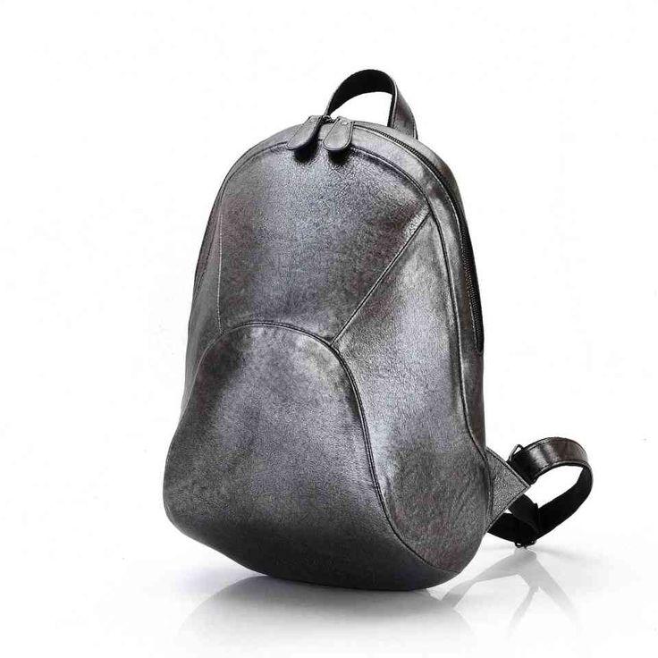 Рюкзак кожаный серебристый / Городской рюкзак для девушки / Рюкзаки женские Leonid Titow