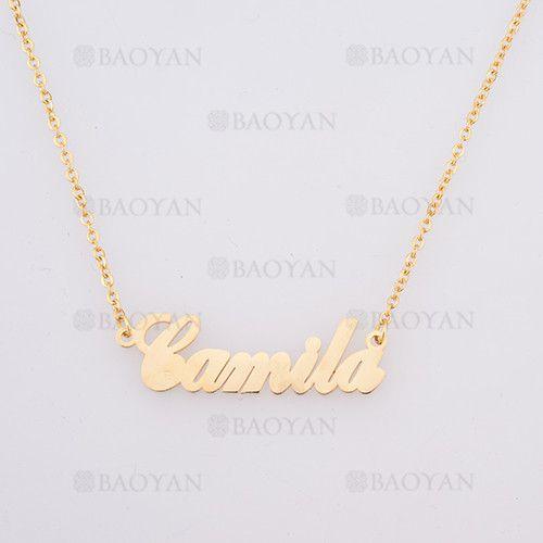collar con nombre Camila en acero dorado inoxidable - SSNEG384254