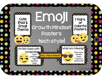 Emoji Growth Mindset Posters for the Computer Lab