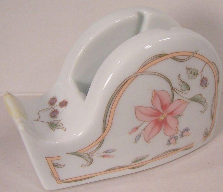 Andrea by Sadek Porcelain Tape Dispenser Hand Painted Flowers