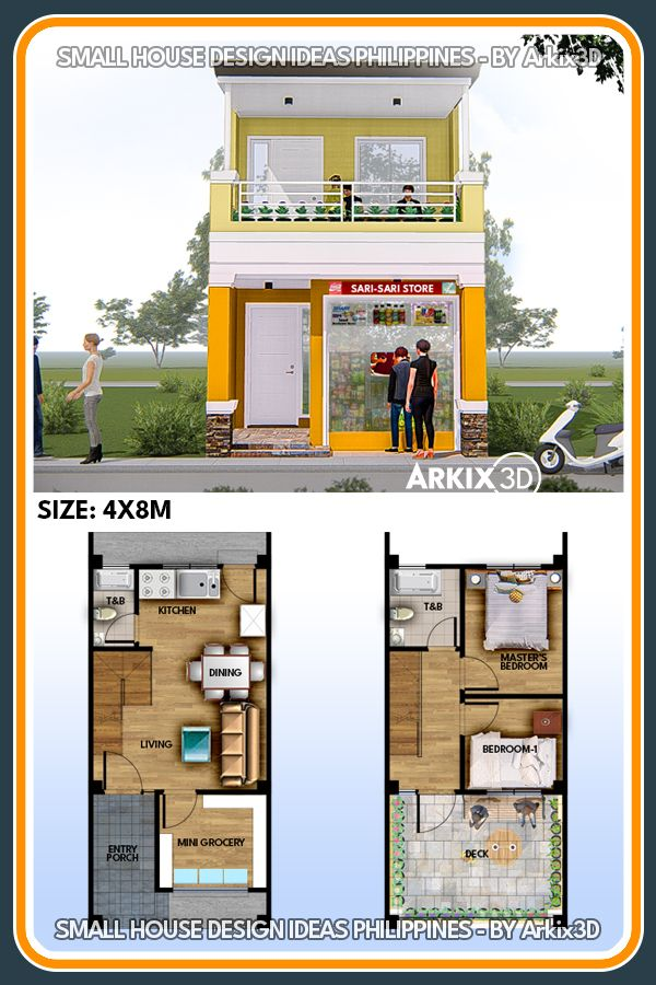 2 Storey 2 Bedroom With Sarisari Store No 0018 House Construction Plan Small House Layout Minimal House Design