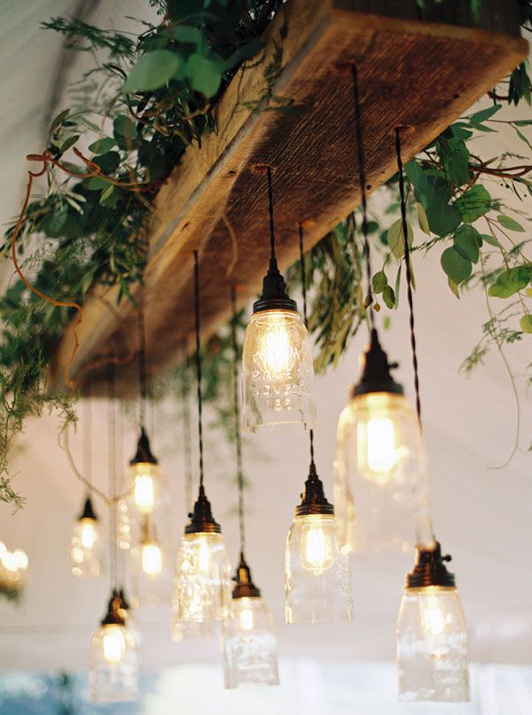 Natural glam wedding in lavender and green hanging edison lightshanging