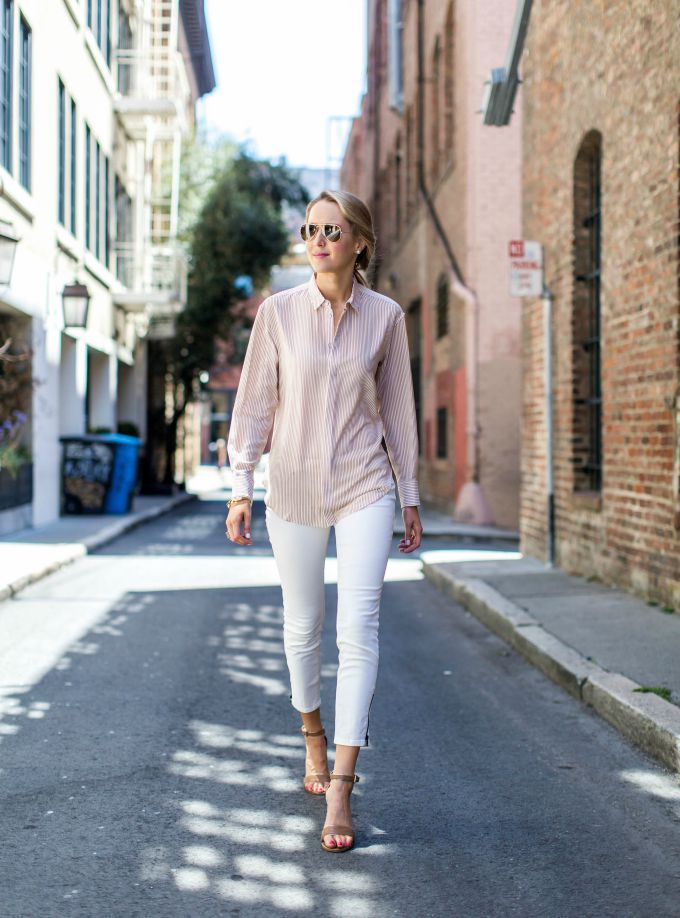 white jeans with button down shirt