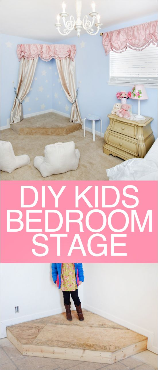 DIY kids stage. Perfect for a bedroom corner or playroom. Your kids will LOVE this!