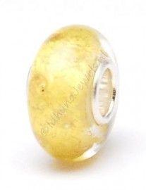 Larenza glasbead goud - glasbedel in goud met gouden stippeltjes DHZ3562
