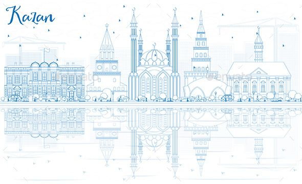Outline Kazan Skyline with Blue Buildings and Reflections.