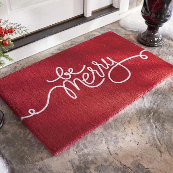 A North Pole prescription for the happiest holidays? Be merry! Like it was handwritten by the Jolly Old Elf, himself, this cheerful doormat is skillfully crafted from durable, all-weather coir (woven coconut husks) to endure the elements, no matter where you call home -- from the sunshiny South to slushy sidewalks of the North. Printed with rich acrylic color to resist fading and maintain its bright, curlicue attitude. It just wouldn't be Christmas without a little merry in the middle. Ha...