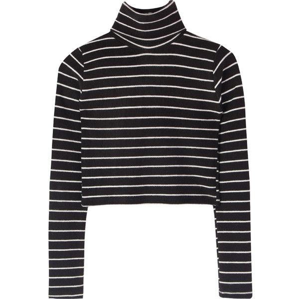 Striped Turtleneck Crop Top ($27) ❤ liked on Polyvore featuring tops, long sleeve crop top, striped turtleneck, turtle neck crop top, sexy tops and striped turtleneck top