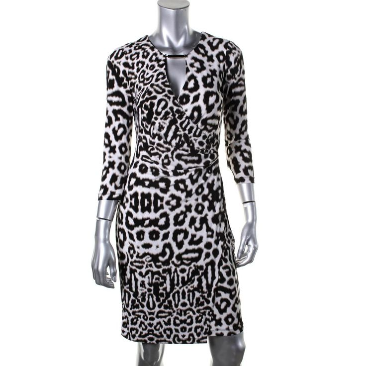 Calvin Klein Womens Matte Jersey Animal Print Wear to Work Dress