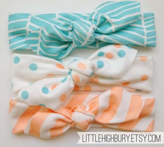 Baby Organic Cotton Knotted Headband/ Baby Headband/ Toddler Headband/ Jersey Knit Teal Peach Polka Dot Headband/ Set of Three