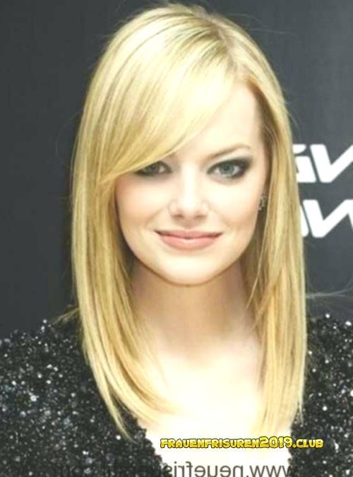Frisuren 2019 Frauen Mittellang Emma Stone Blonde Medium Stil Mit