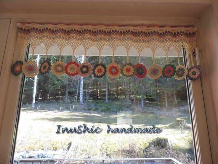 vintage dekorácia do bytu, hačkovaná záclona na okno